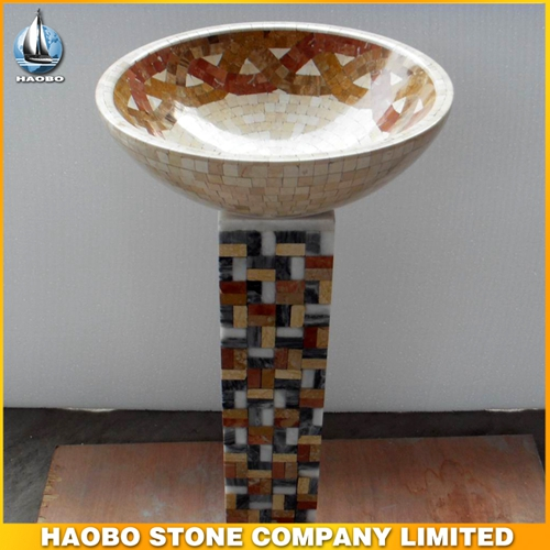 Yellow Marble Patte Stone Pedestal Sink For Bathroom