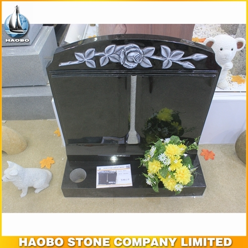 Indian Black Granite Monument With Carved Rose